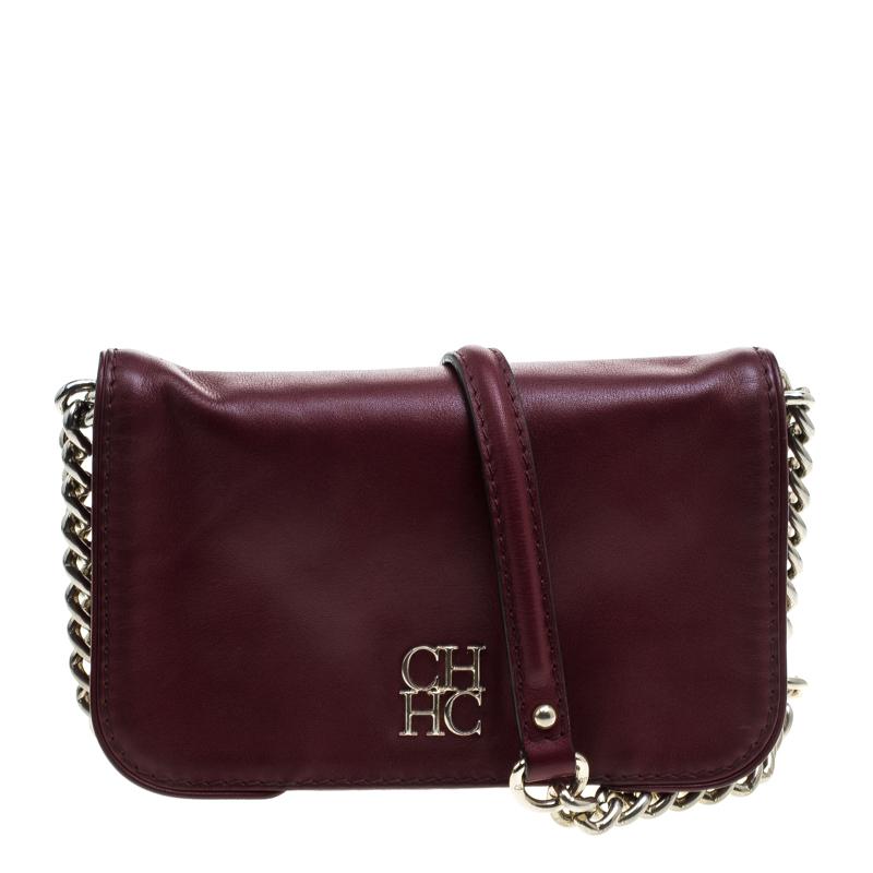 70bda18d43 Buy Carolina Herrera Burgundy Leather New Baltazar Crossbody Bag ...