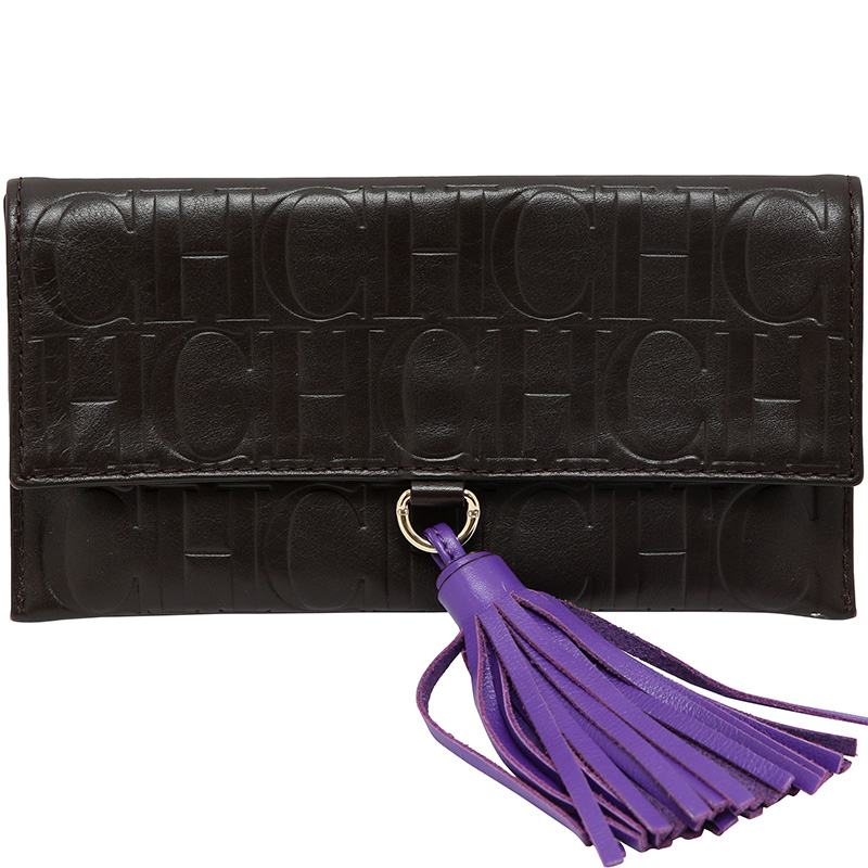 Купить со скидкой Carolina Herrera Dark Brown Monogram Leather Tassel Clutch