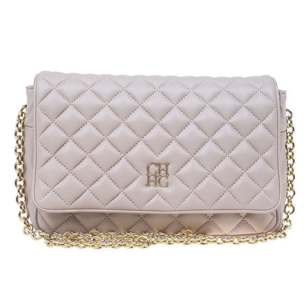 Carolina Herrera Beige Quilted Leather Crossbody Bag