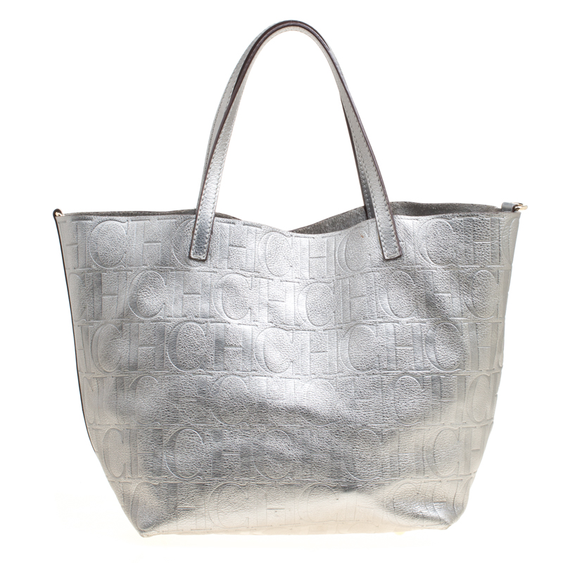 15c7baf8059364 Buy Carolina Herrera Silver Monogram Leather Matryoshka Tote 166874 ...