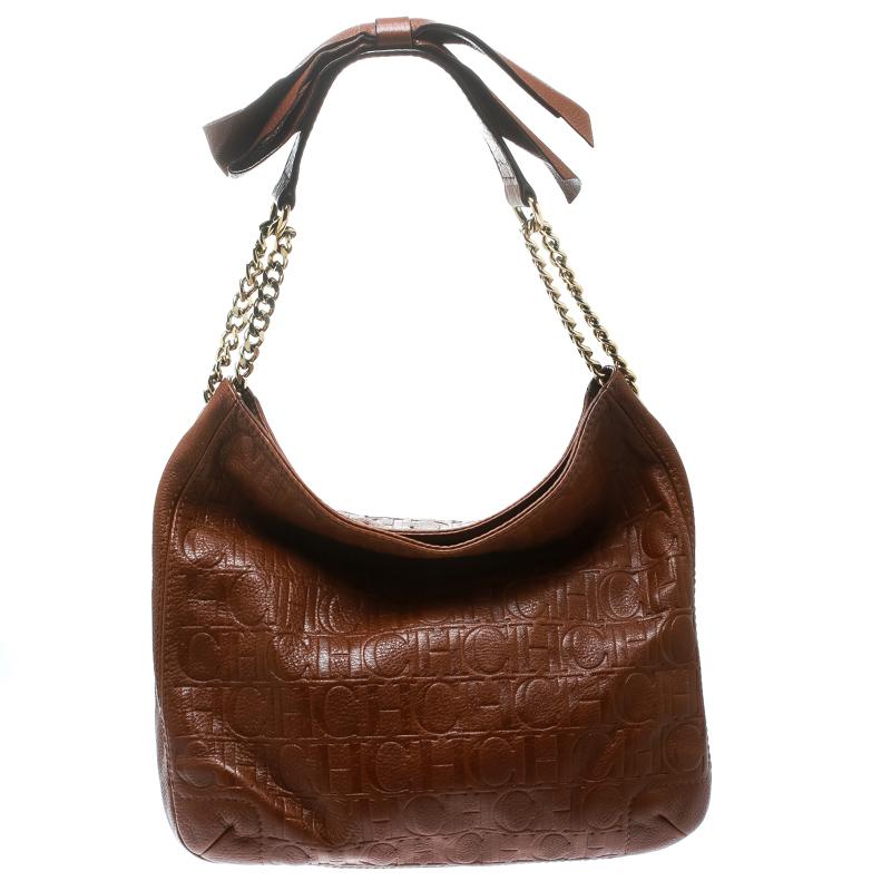 Carolina Herrera Brown Monogram Leather Bow Hobo