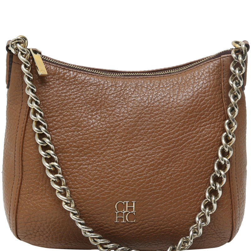 Carolina Herrera Brown Leather Chain Shoulder Bag