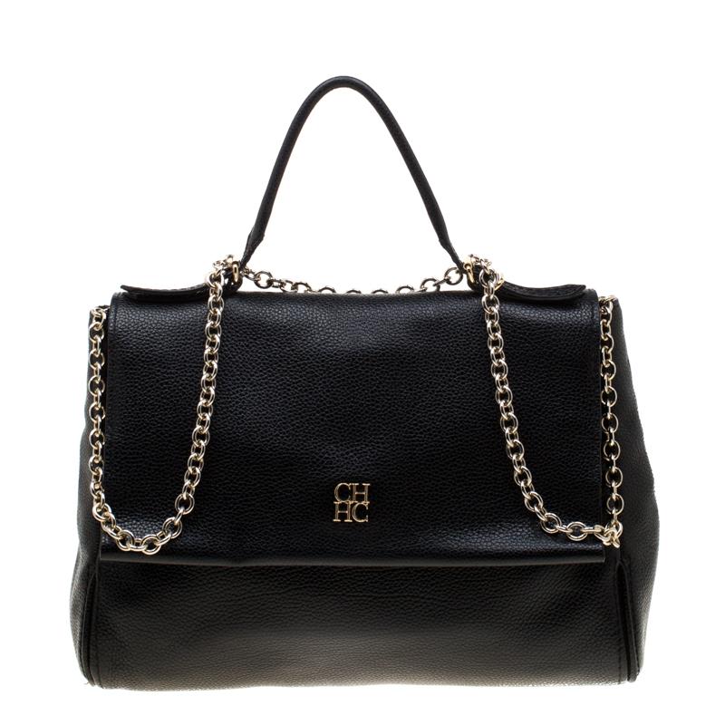 348654f6bba6d ... Carolina Herrera Black Leather Minuetto Flap Top Handle Bag. nextprev.  prevnext