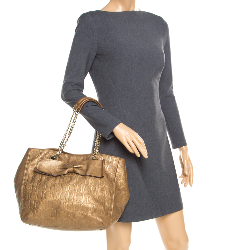 Carolina Herrera Gold Monogram Leather Audrey Tote Buy At The Price Of 262 85 In Theluxurycloset Com Imall Com