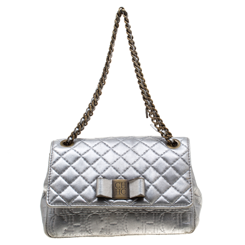 Carolina Herrera Silver Leather Bow Flap Shoulder Bag
