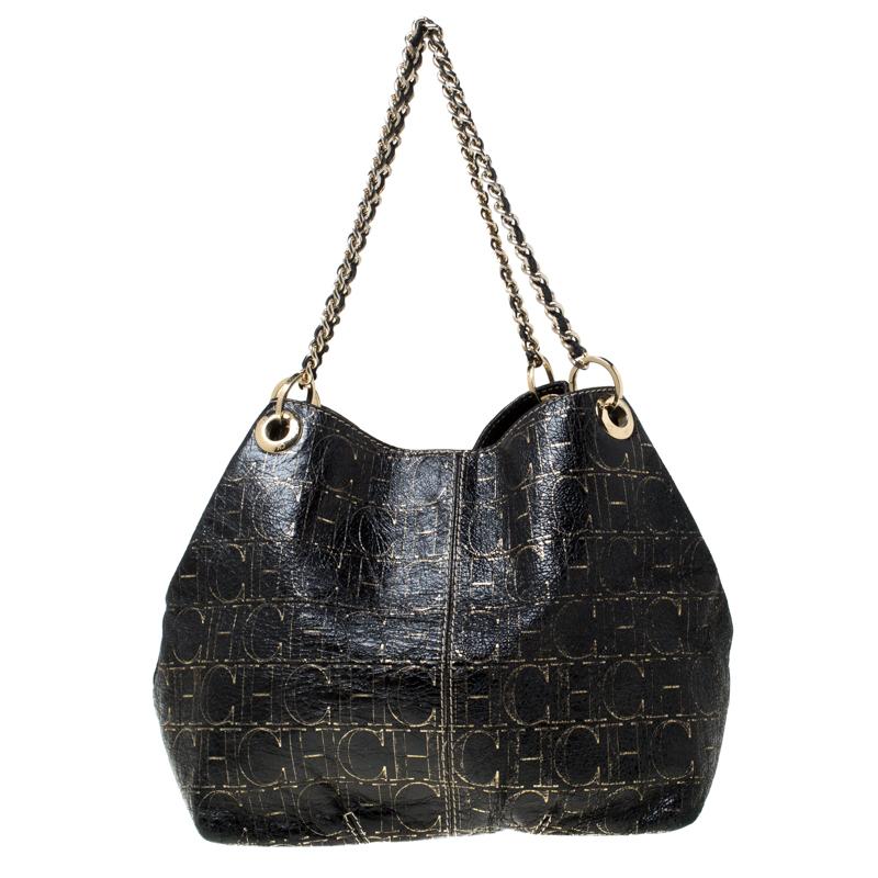 Carolina Herrera Black Monogram Leather Chain Shoulder Bag Carolina Herrera Tlc