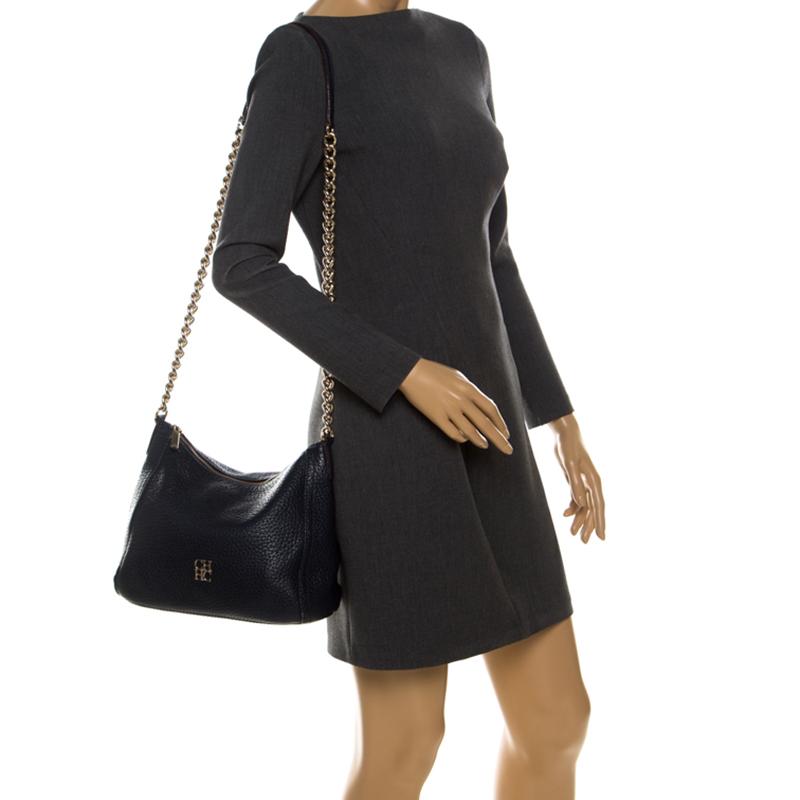 Carolina Herrera Navy Blue Pebbled Leather Maria Shoulder Bag