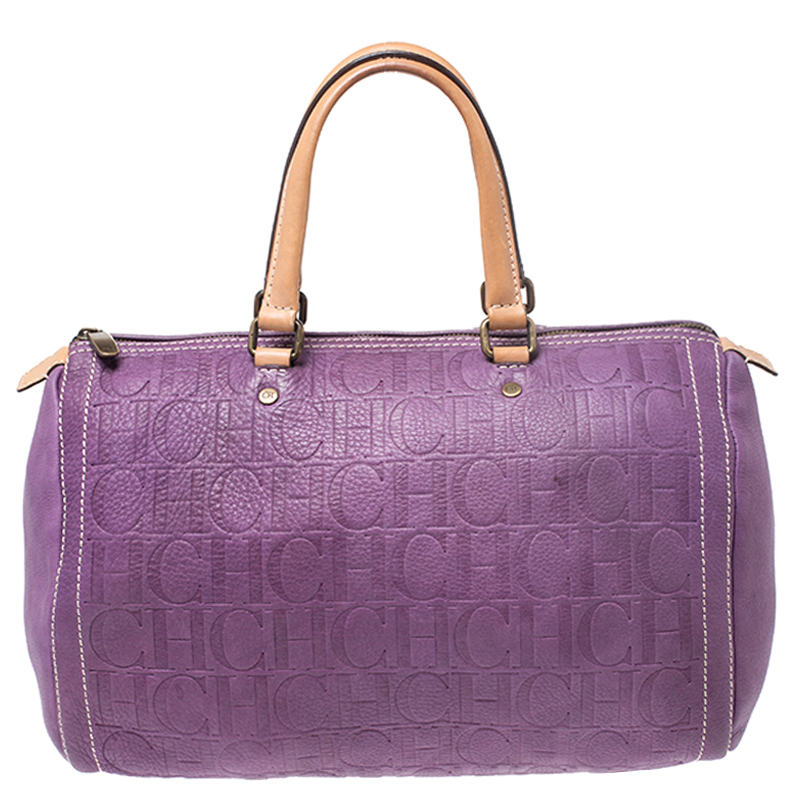 Carolina Herrera Light Purple Monogram Leather Andy Boston Bag