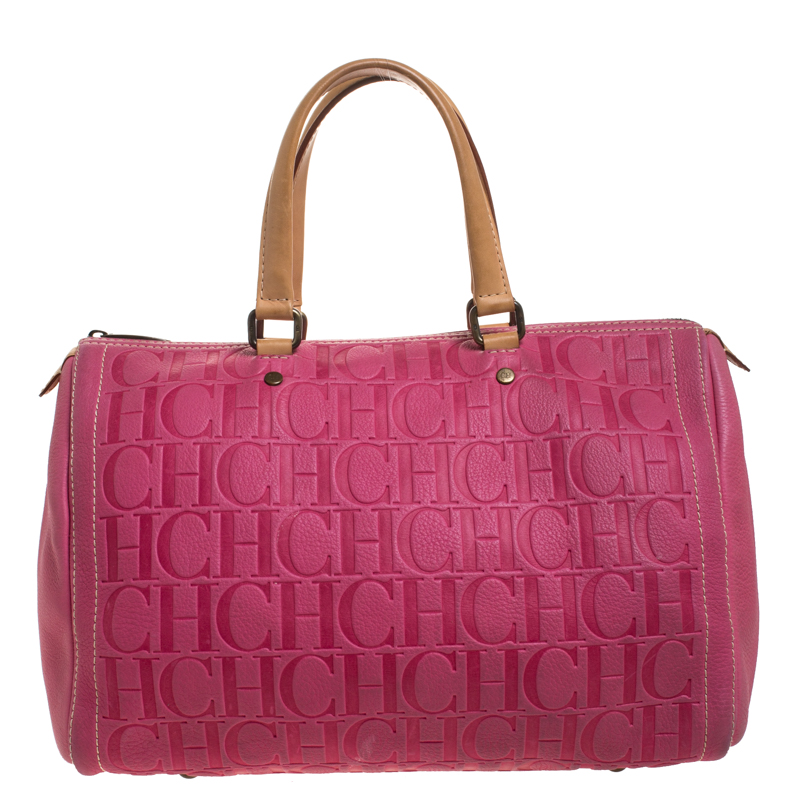 Pre Owned Carolina Herrera Pink Monogram Leather Large Andy Boston Bag Modesens