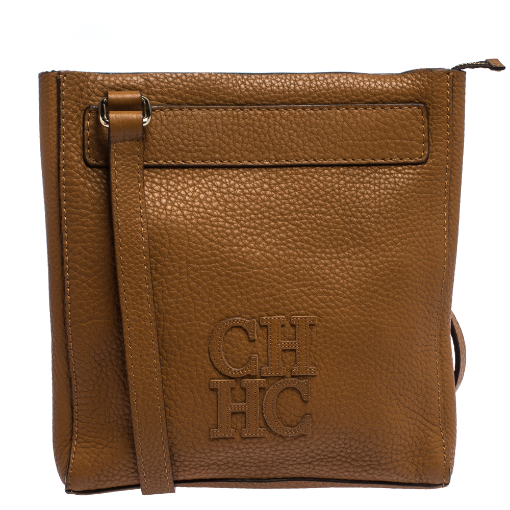 Carolina Herrera Brown Leather Top Zip Crossbody Bag
