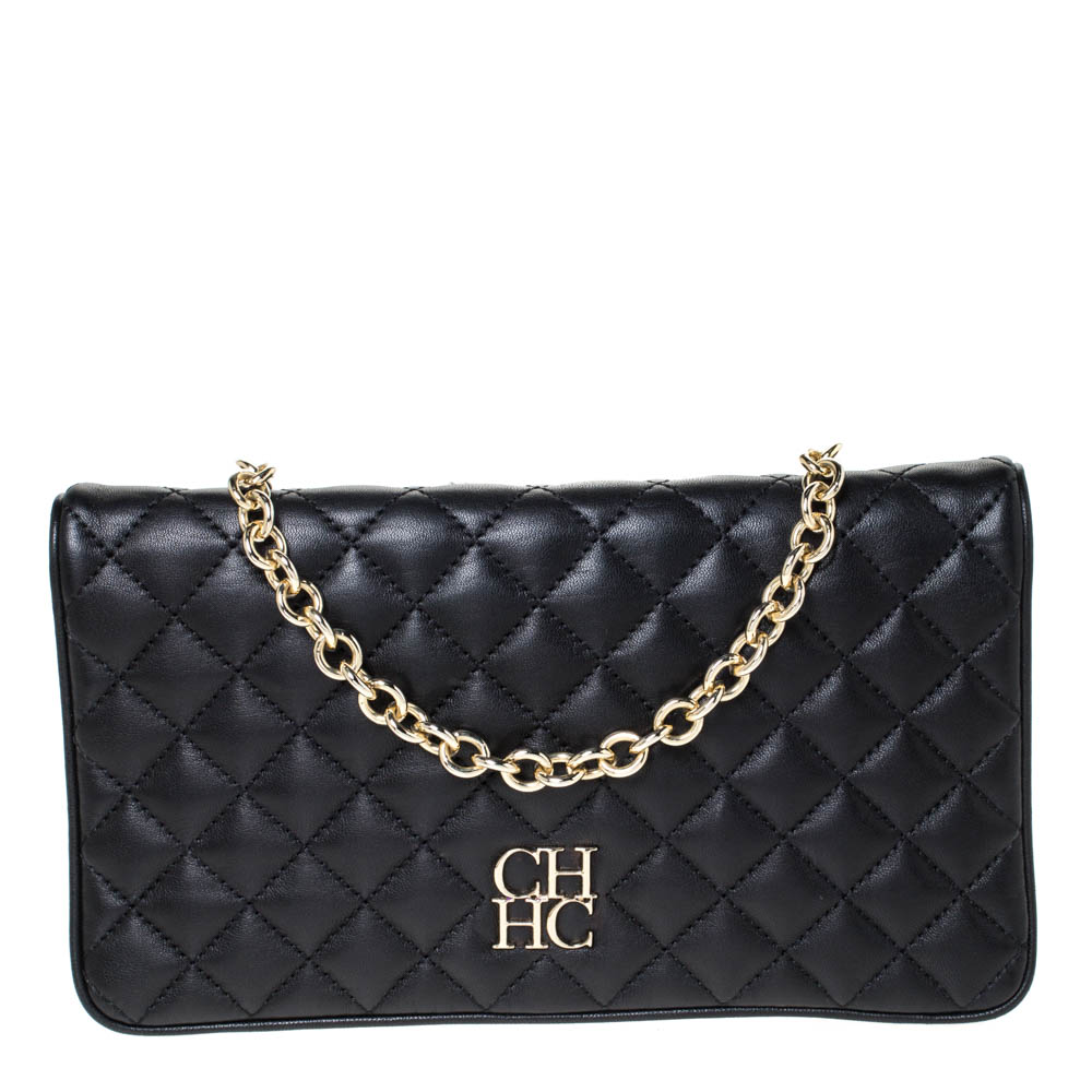 Carolina Herrera Black Quilted Leather Flap Chain Shoulder Bag