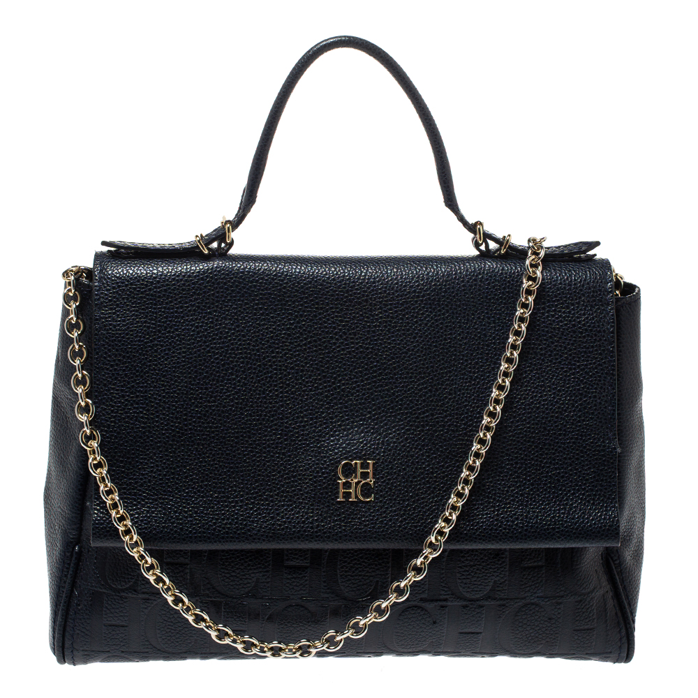 Carolina Herrera Navy Blue Leather Minueto Flap Bag