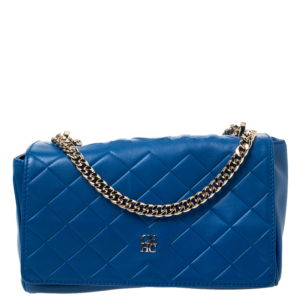 Carolina Herrera Blue Quilted Leather Flap Shoulder Bag