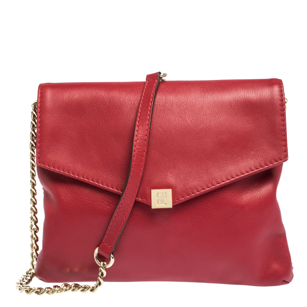 Carolina Herrera Red Leather Envelope Flap Shoulder Bag