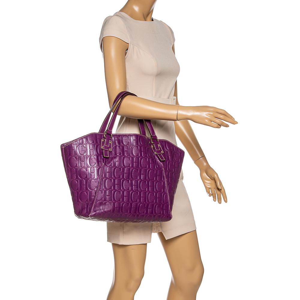 Carolina Herrera Purple Embossed Leather Open Tote  - buy with discount
