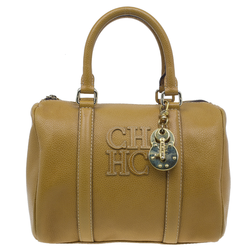 Carolina Herrera Camel Leahter Padlock Charm Boston Bag