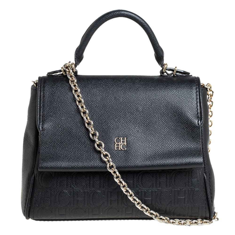 Carolina Herrera Black Leather Small Minuetto Top Handle Bag