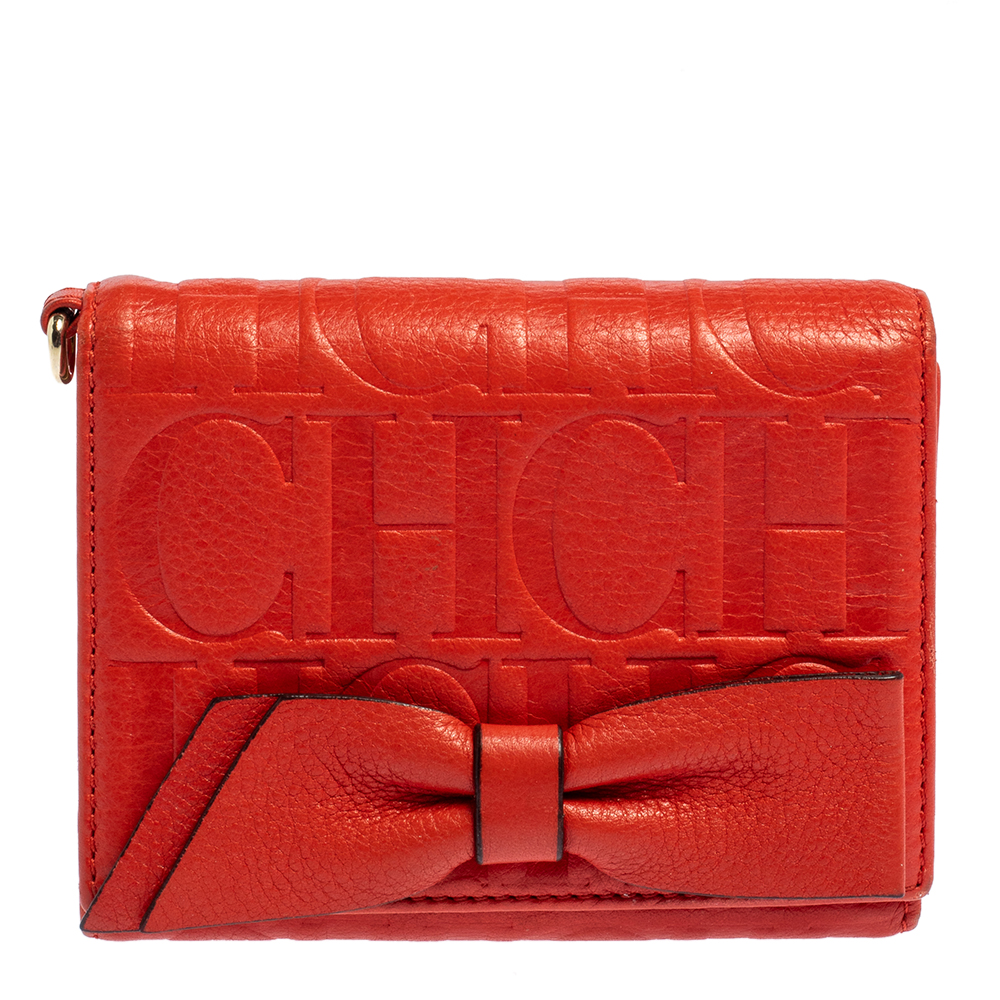 Pre-owned Carolina Herrera Orange Embossed Leather Bow Trifold Wallet