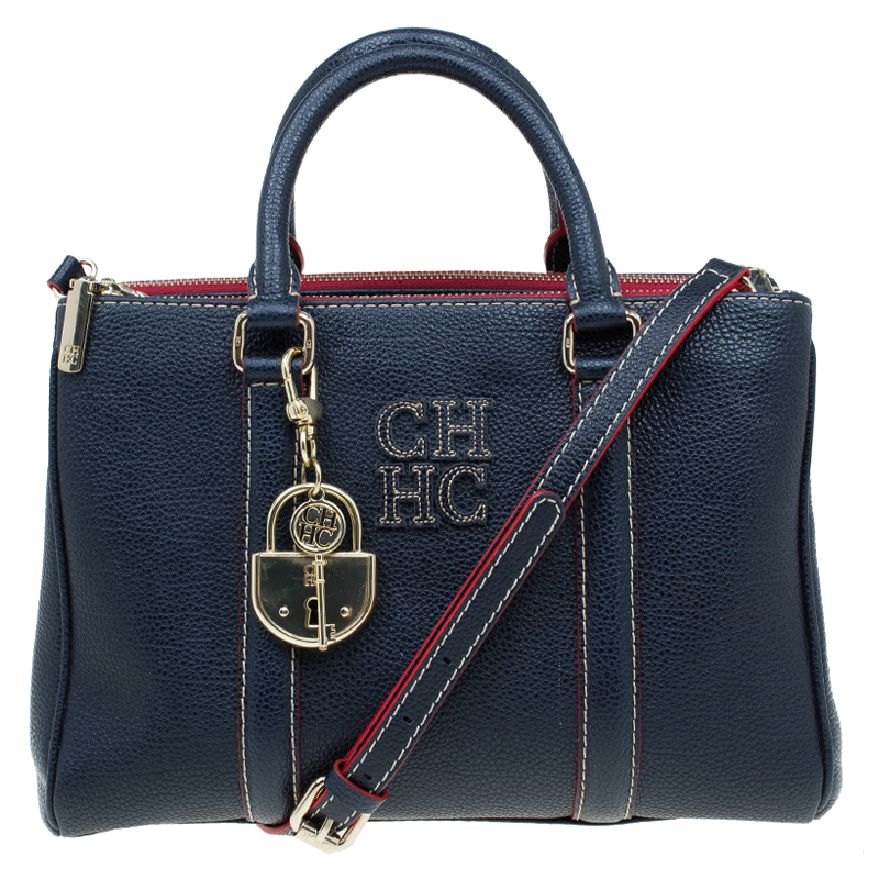 b0df616cf80c ... Carolina Herrera Navy Blue Leather Matteo Top Handle Bag. nextprev.  prevnext
