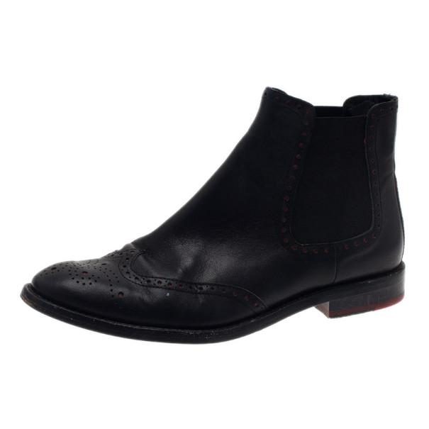 1e7df81ecda8c5 Buy Carolina Herrera Black Leather Brogue Ankle Boots Size 37 13687 ...