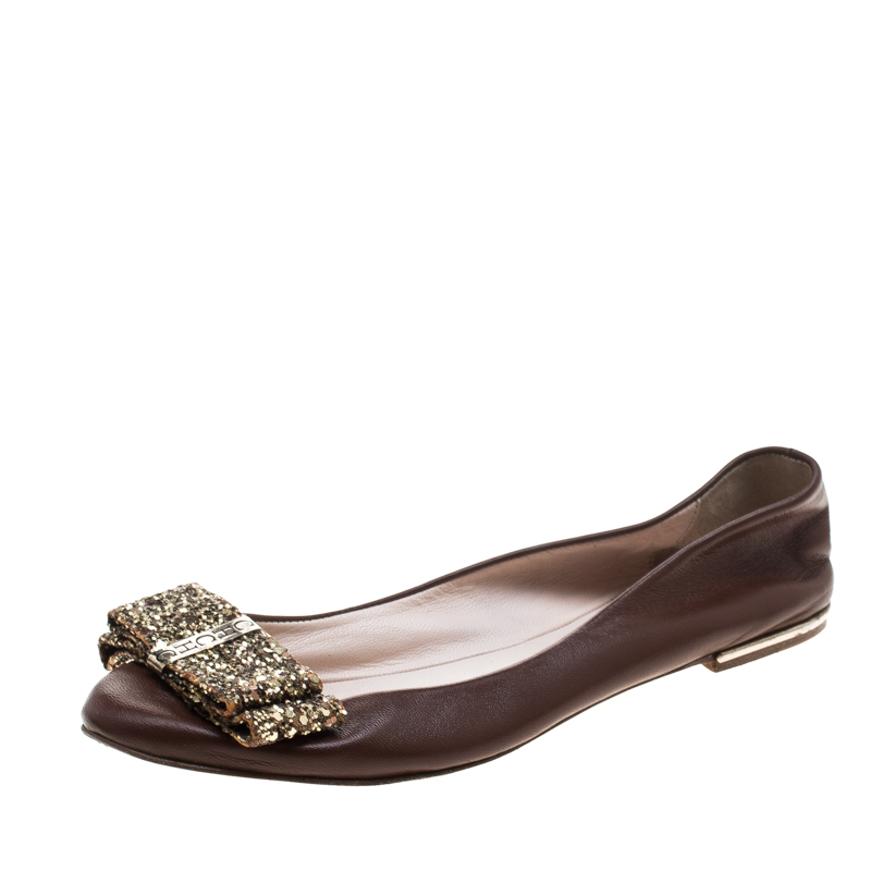 Carolina Herrera Brown Leather Bow Ballet Flats Size 37