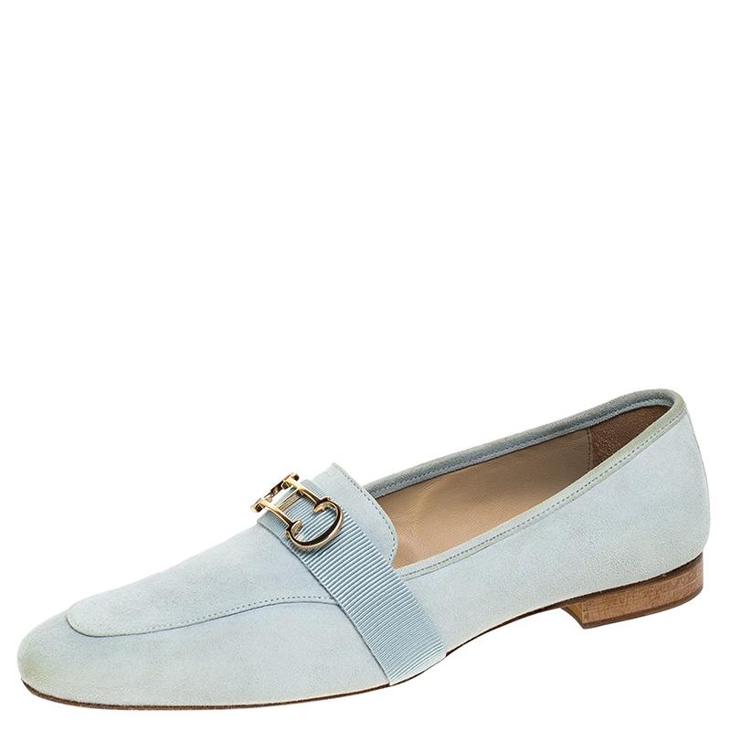 Carolina Herrera Blue Suede Logo Detail Slip On Loafers Size 40