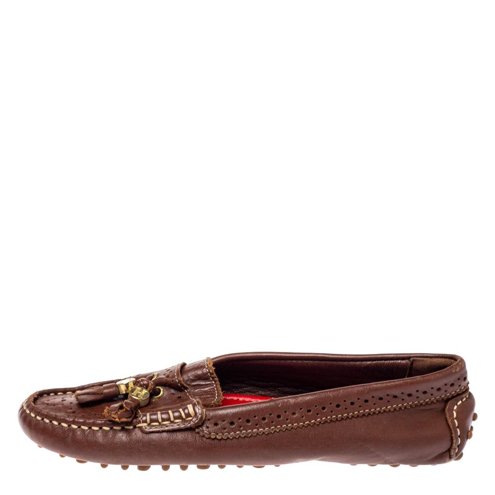 CH Carolina Herrera Brown Perforated Leather Fringe Moccasins Size 36