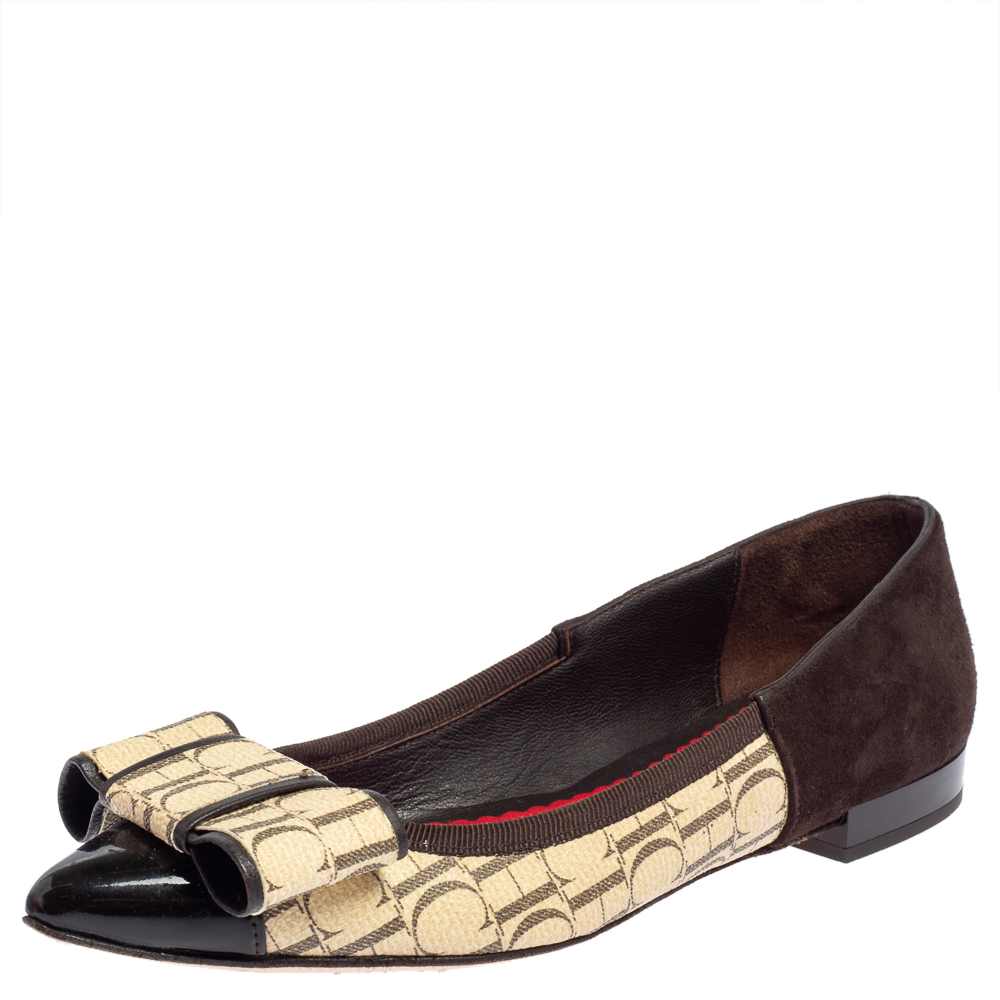 Pre-owned Carolina Herrera Dark Brown/beige Suede And Pvc Bow Pointed Toe Ballet Flats Size 36