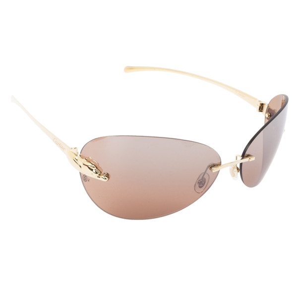 60957c2d9bc Buy Cartier Panthere de Cartier Rimless Womens Sunglasses 26609 at best  price