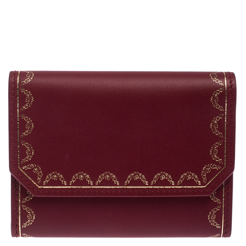 Cartier Maroon Leather Wallet