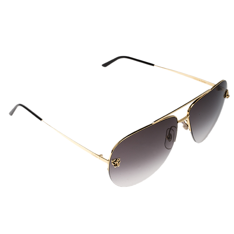 a1bf5252580 ... Cartier Gold Black Gradient Panthere De Cartier Aviator Sunglasses.  nextprev. prevnext