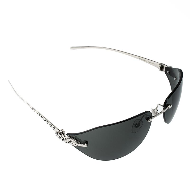 96d42f651d091 ... Cartier Silver Black Panthere De Cartier Rimless Jewel Sunglasses.  nextprev. prevnext
