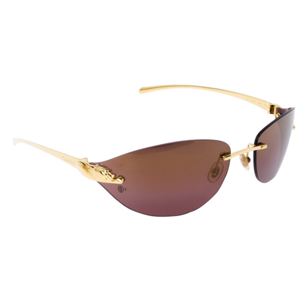 bfcea586461 Buy Cartier Gold Panthere De Cartier Rimless Shield Sunglasses 15229 ...