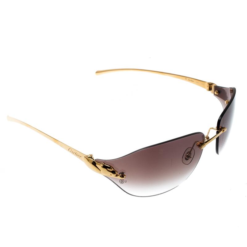f6778396e6 ... Cartier Gold Brown Gradient Panthere De Cartier Rimless Shield  Sunglasses. nextprev. prevnext