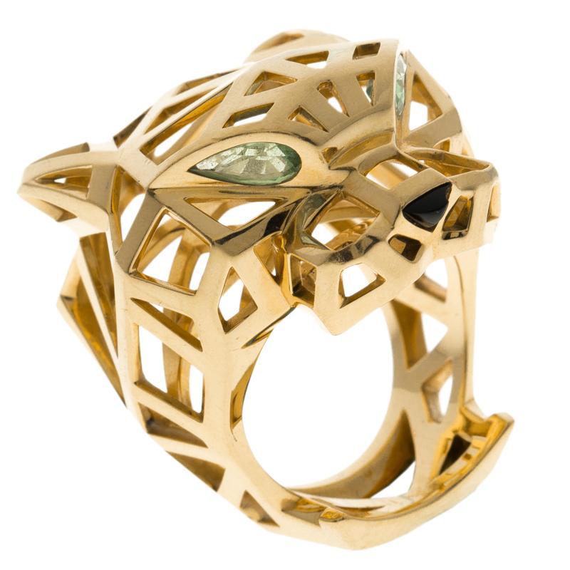 53d9e0359d87d Cartier Panthère de Cartier Tsavorite Garnets Onyx 18k Yellow Gold Ring  Size 57