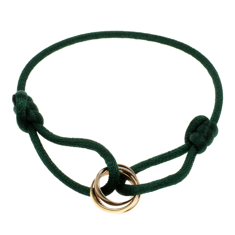 e3aba222d127dc ... Cartier Trinity De Cartier Three Tone 18k Gold Green Adjustable Cord  Bracelet. nextprev. prevnext