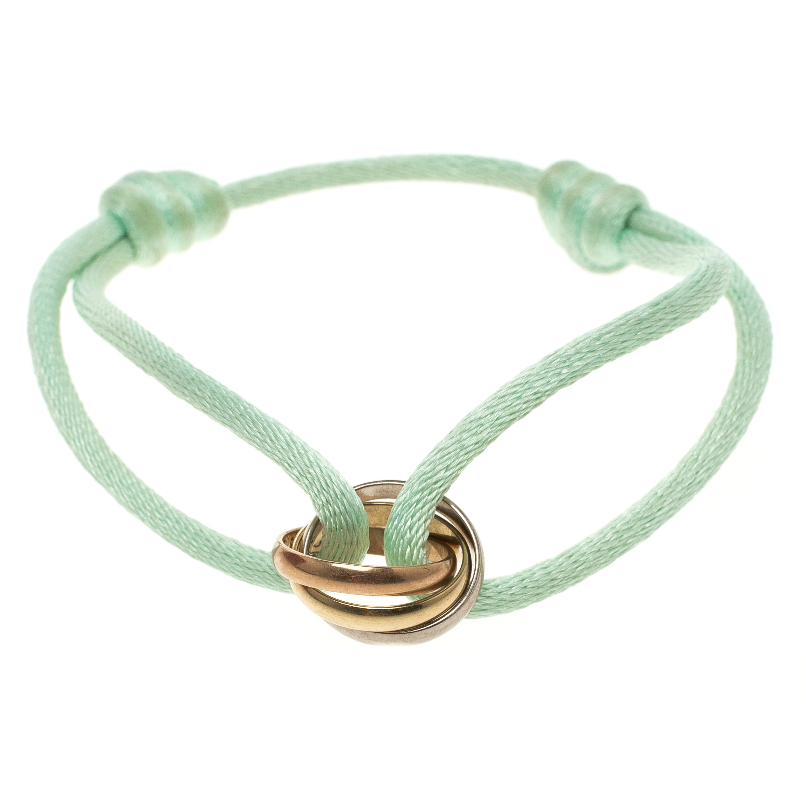 7bbbd4ccf951df ... Cartier Trinity De Cartier Three Tone 18k Gold Adjustable Sea Green Cord  Bracelet. nextprev. prevnext