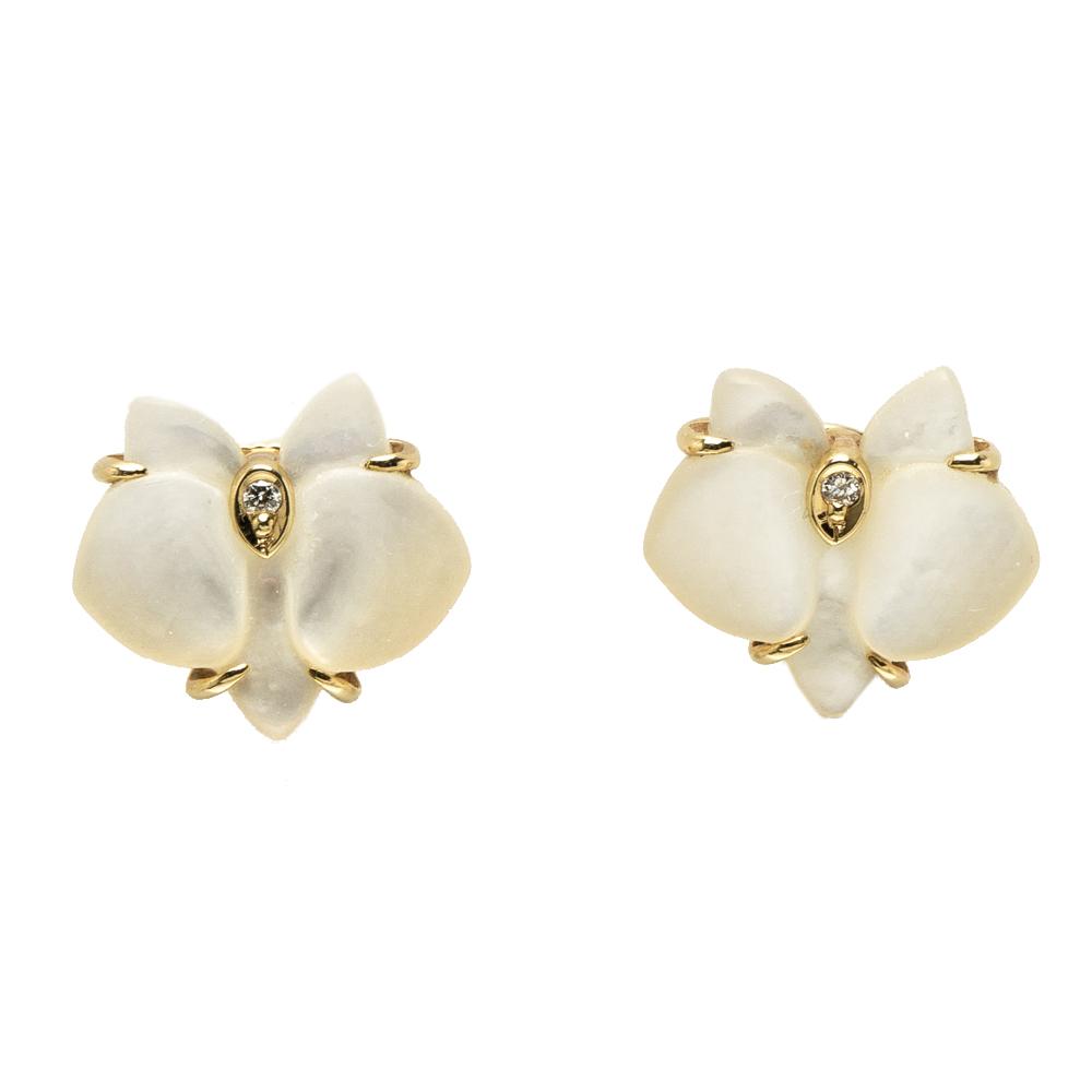 3e3ebe1019b76 Cartier Caresse D'Orchidees Par Cartier Mother of Pearl Diamond 18k Yellow  Gold Stud Earrings