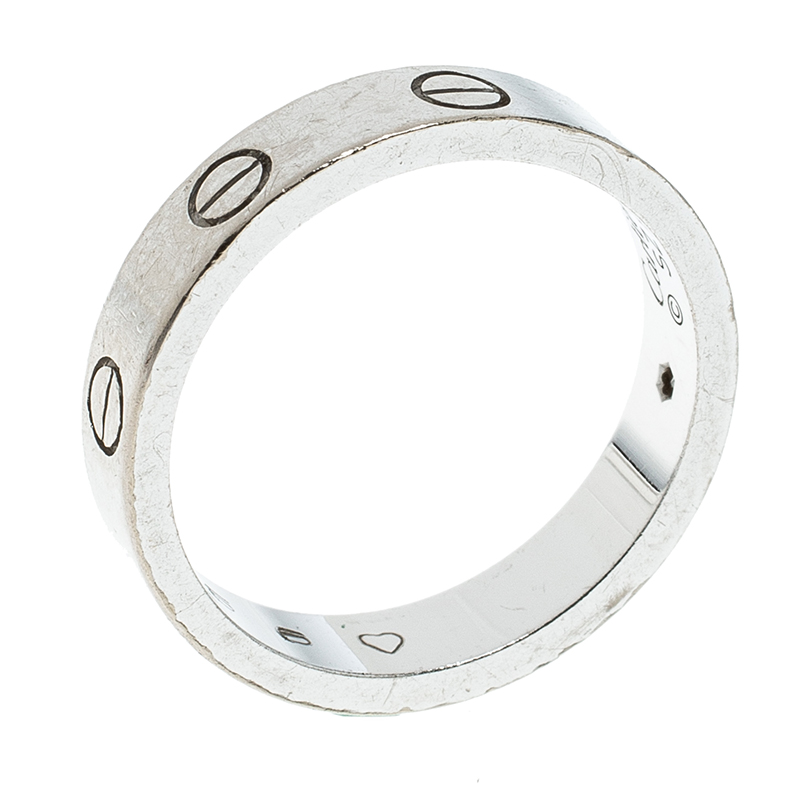 Купить со скидкой Cartier Love Diamond 18k White Gold Wedding Band Ring Size 52