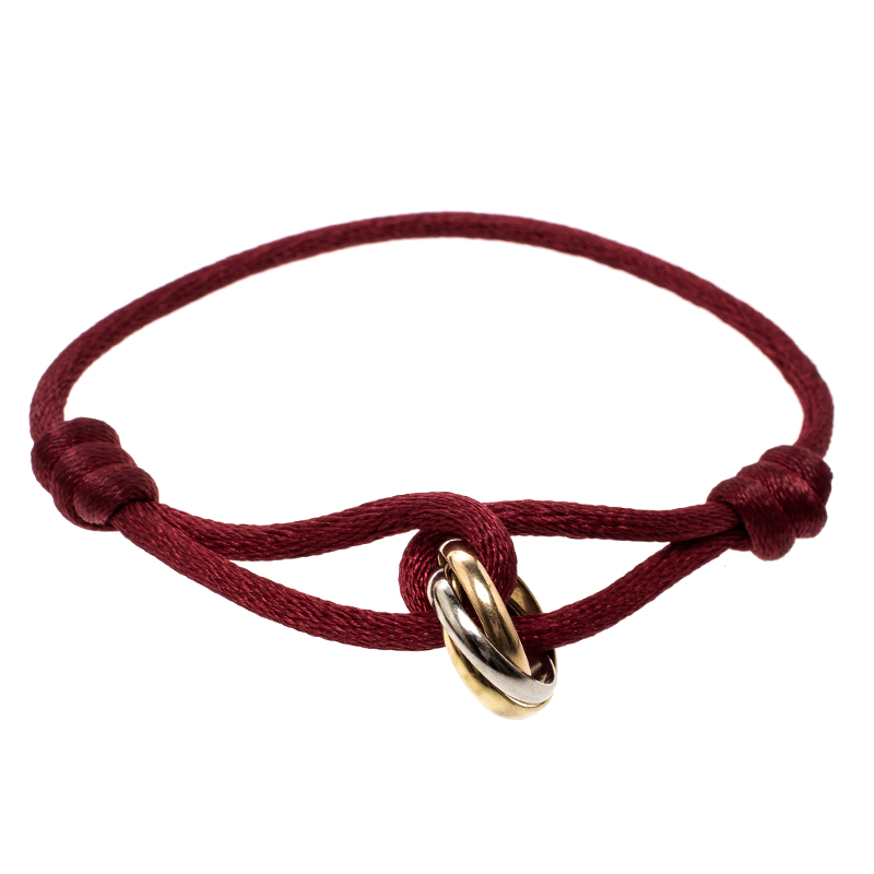 e472e58b852a1e ... Cartier Trinity De Cartier Three Tone 18k Gold Red Adjustable Cord  Bracelet. nextprev. prevnext