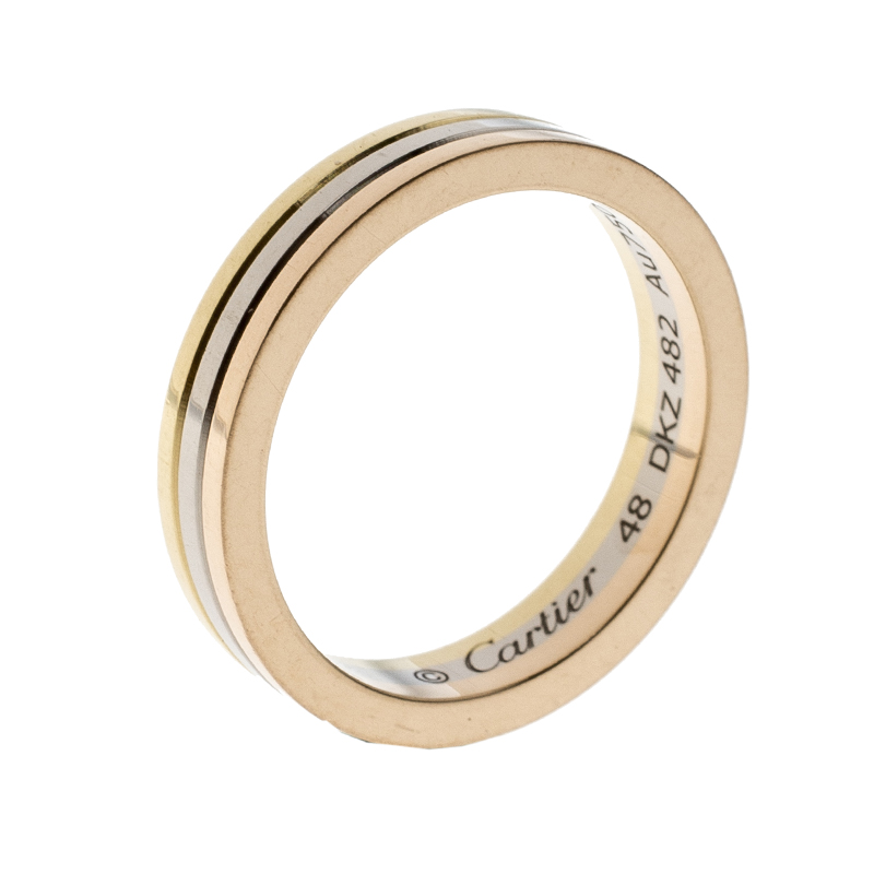 Buy Cartier Trinity 18k Three Tone Gold Wedding Band Ring Size 48
