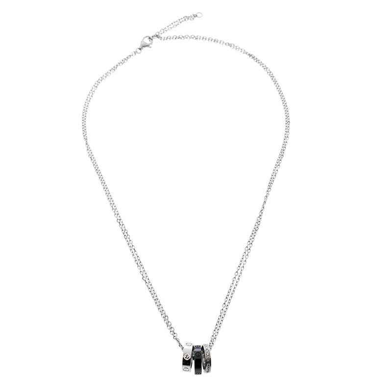 Купить со скидкой Cartier Love Ceramic & Diamond 18k White Gold Necklace