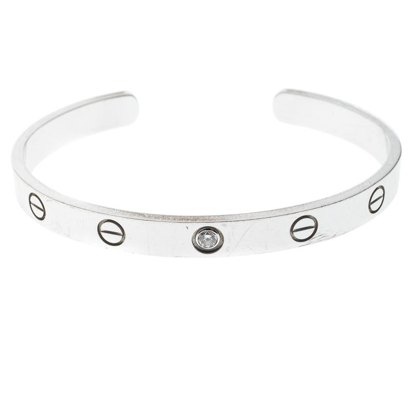 White Gold Open Cuff Bracelet 17cm