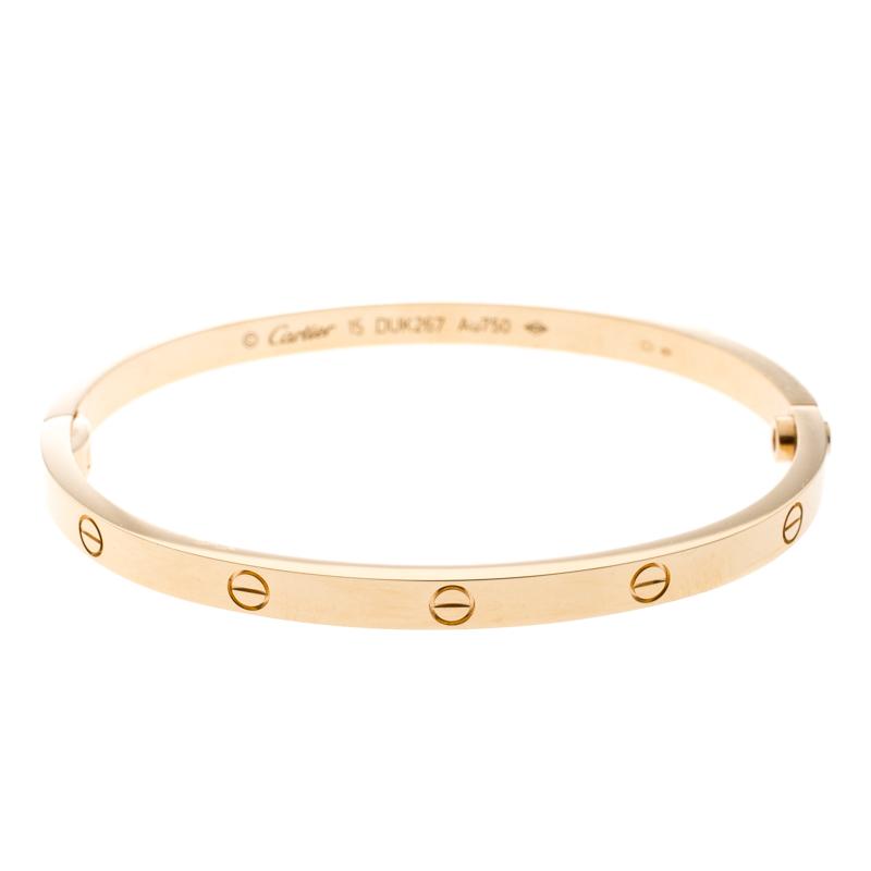 Cartier Love 18k Rose Gold Sm Bracelet 15