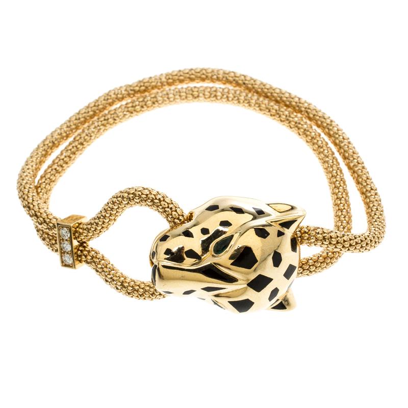 Купить со скидкой Cartier Panthere De Cartier Diamond Garnet & Onyx 18k Yellow Gold Bracelet