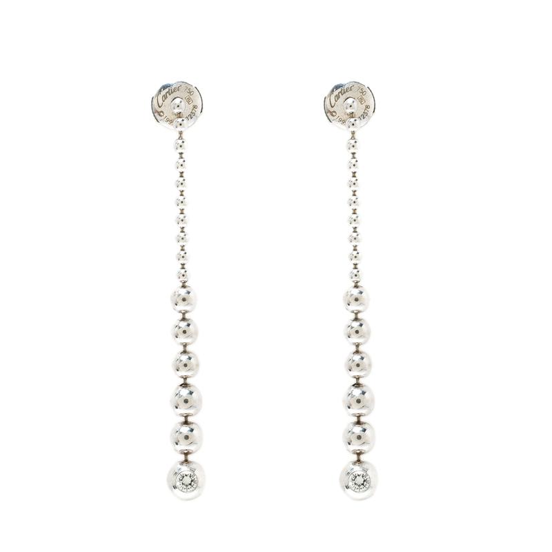 Купить со скидкой Cartier Diamond & 18k White Gold Graduating Ball Bead Drop Long Earrings