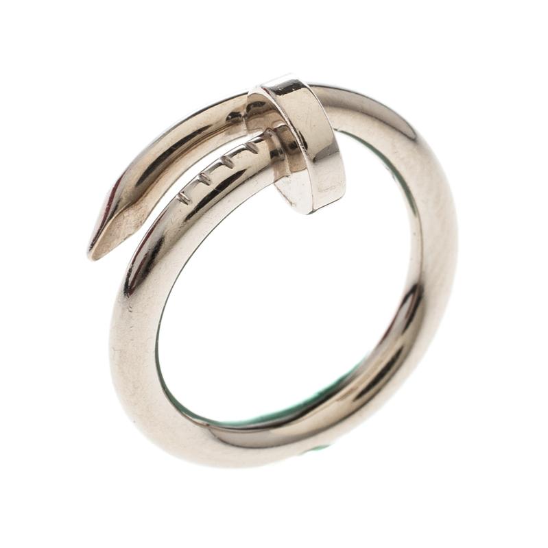 8dd364c3635a1 Cartier Juste Un Clou SM White Gold Ring Size 53