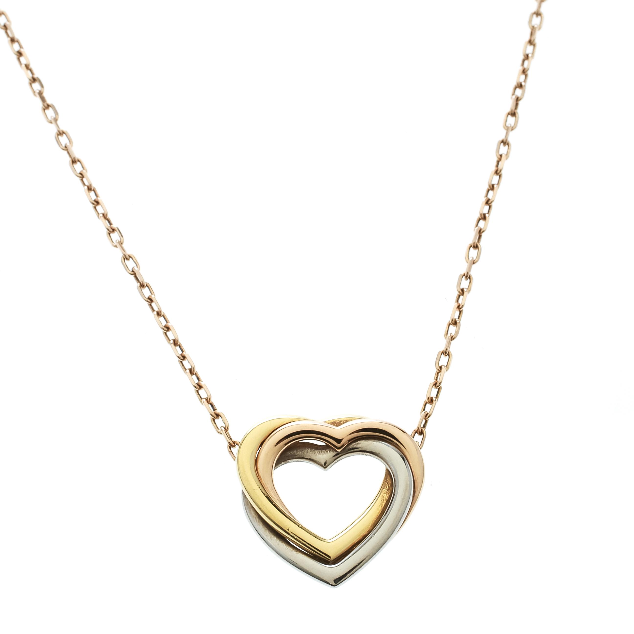 884c66f68cd04 Cartier Trinity de Cartier Heart Three Tone 18k Gold Necklace