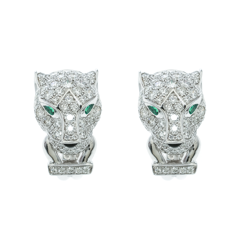 Купить со скидкой Cartier Panthere De Cartier Diamond Emerald & Onyx 18k White Gold Earrings