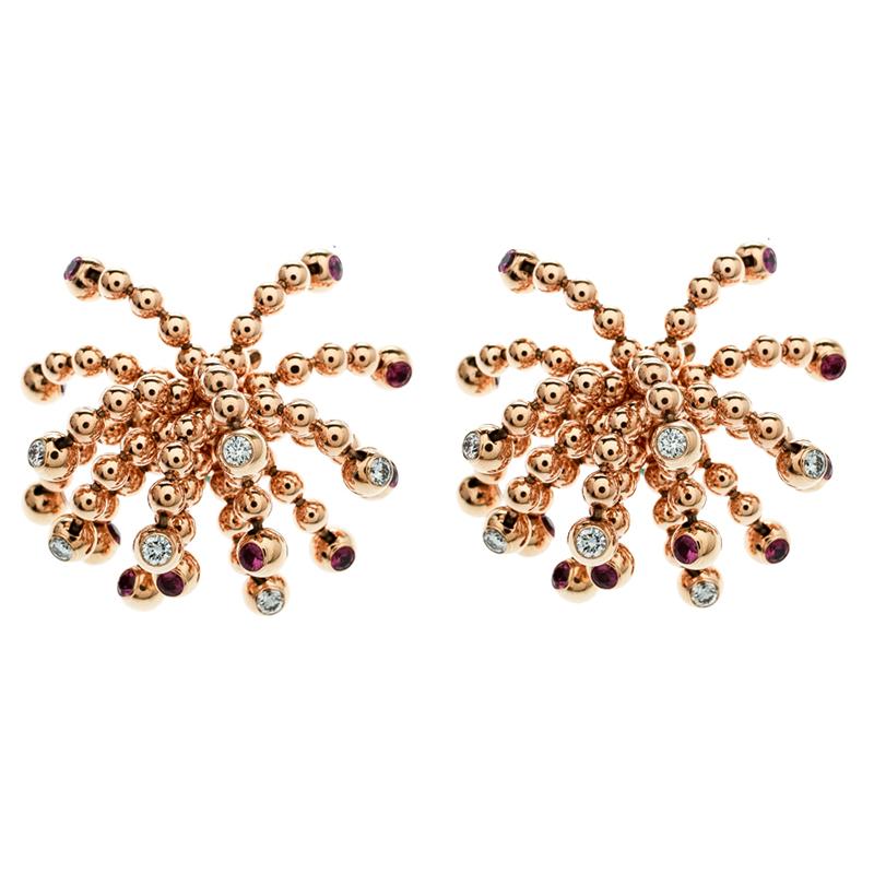3d61bd38cc04 Buy Cartier Paris Nouvelle Vague Diamond   Pink Sapphire 18k Rose Gold  Tassel Stud Earrings 180439 at best price